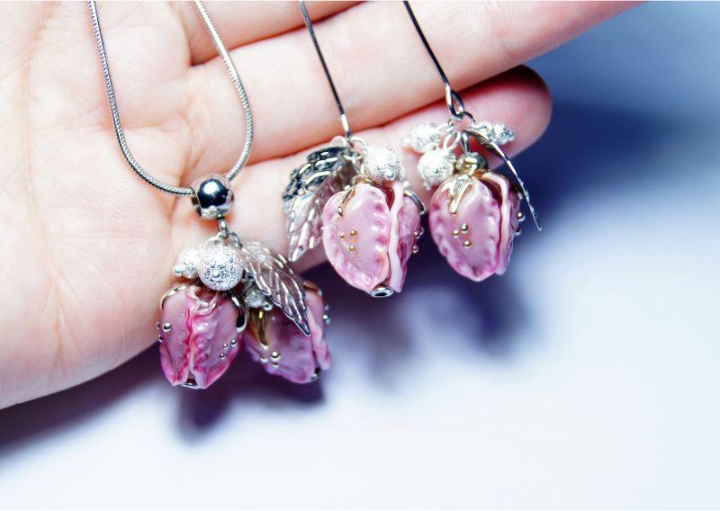 """Комплект """"Красивий настрій"""" Рожевий - італійське скло - сріб Мусієнко Ангеліна - фото 4"""