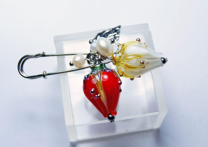 """Брошка-шпилька """"Ніжні почуття"""" Різнобарвний - перли - італійське скл Мусієнко Ангеліна - фото 4"""