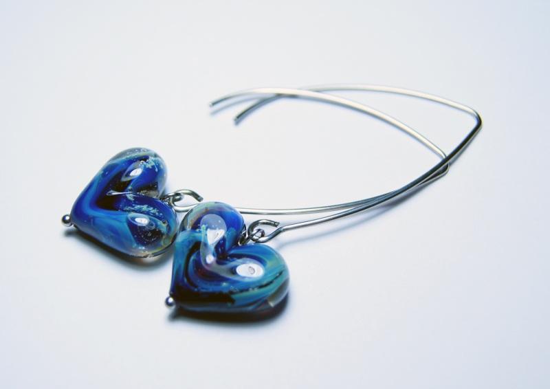 """Комплект """"Нежность любящего сердца"""" Синий - итальянское стекло - с Мусиенко Ангелина - фото 2"""