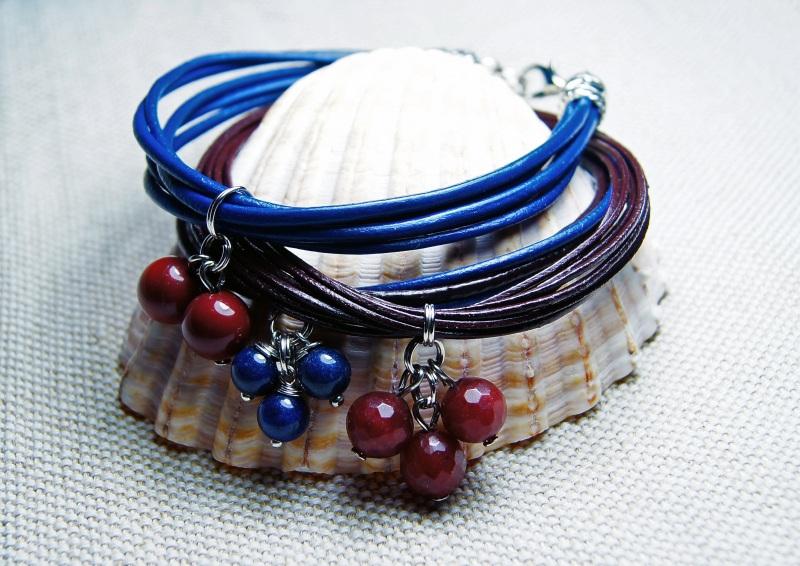 """Сет браслетов """"Сапфировый рассвет"""" Разноцветный натуральные камни, яшма, Мусиенко Ангелина - фото 1"""