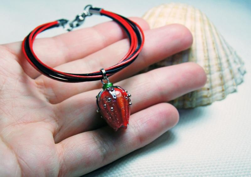 """Браслет """"Червона помада"""" Червоний скло, сталь, шкіра, намис Мусієнко Ангеліна - фото 3"""