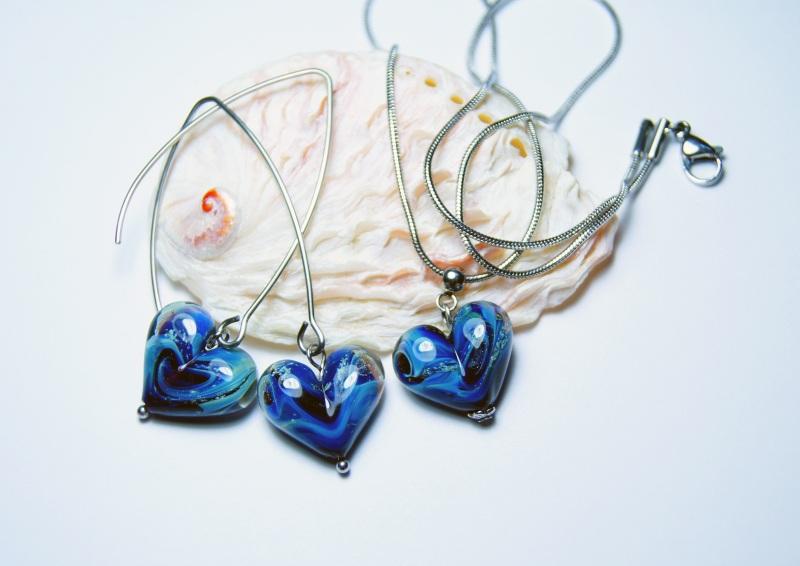 """Комплект """"Нежность любящего сердца"""" Синий - итальянское стекло - с Мусиенко Ангелина - фото 1"""
