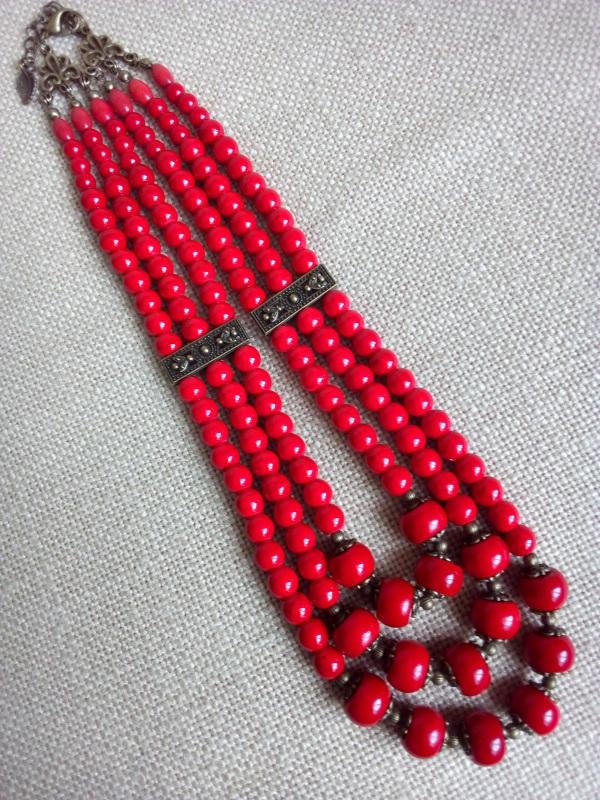 Ожерелье  Коралл прессованный, фурн Миклуха Оксана - фото 1