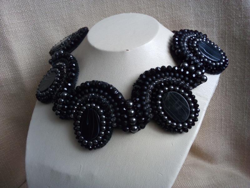 Колье с перламутром Черный Перламутр, гематит, шунги Миклуха Оксана - фото 3