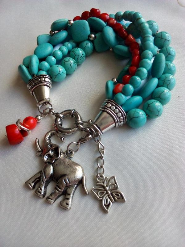 Браслет Карибы Голубой Коралл натуральный, кошач Миклуха Оксана - фото 1