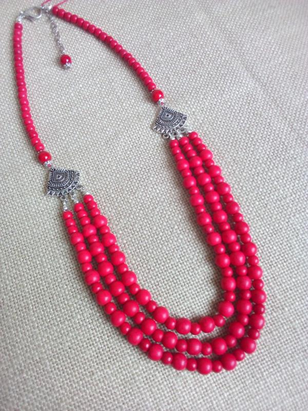 Ожерелье Красный Говлит, фурнитура серебря Миклуха Оксана - фото 1
