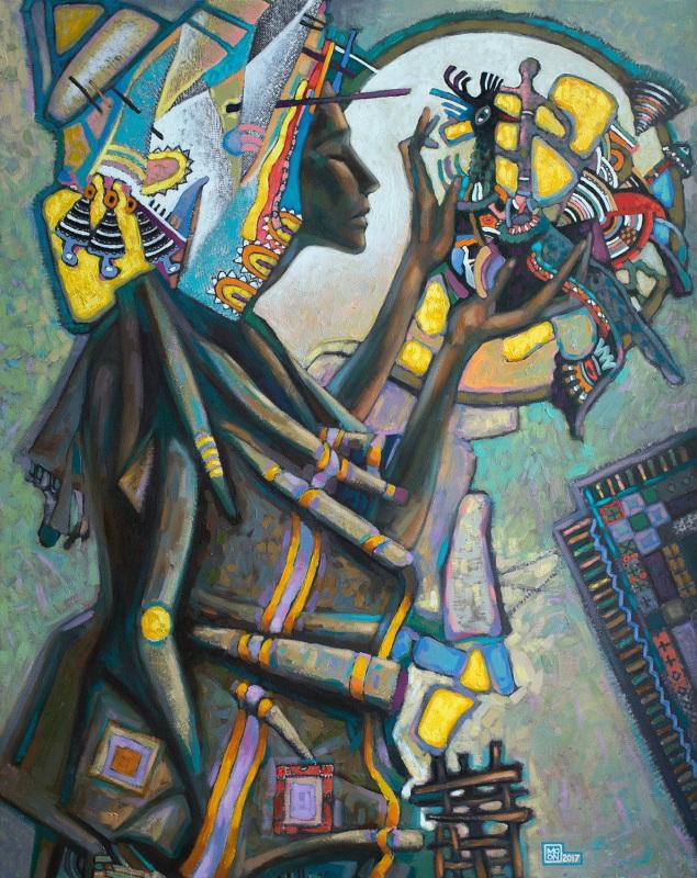 Женщина и птица  холст на подрамнике, печа Мисяц Владимир - фото 1
