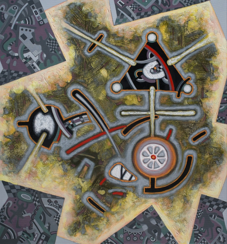 Композиция в серо-оливковом  полотно, печать, масло, р Мисяц Владимир - фото 1