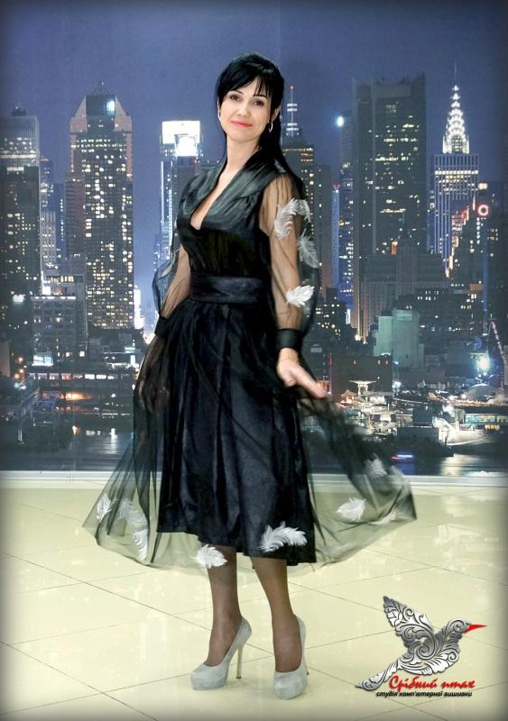 """Платье """"Перья ангела"""" Черный ткань - атлас, евросетка; Студия вышивки """"Срібний птах"""" - фото 3"""