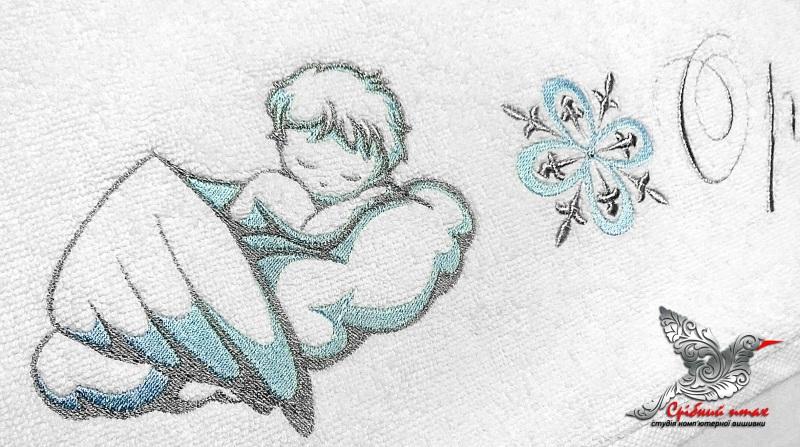 """Мальчиковая вышиванка и полотенце для крестин Белый хлопок, вышивка шелк и се Студия вышивки """"Срібний птах"""" - фото 4"""