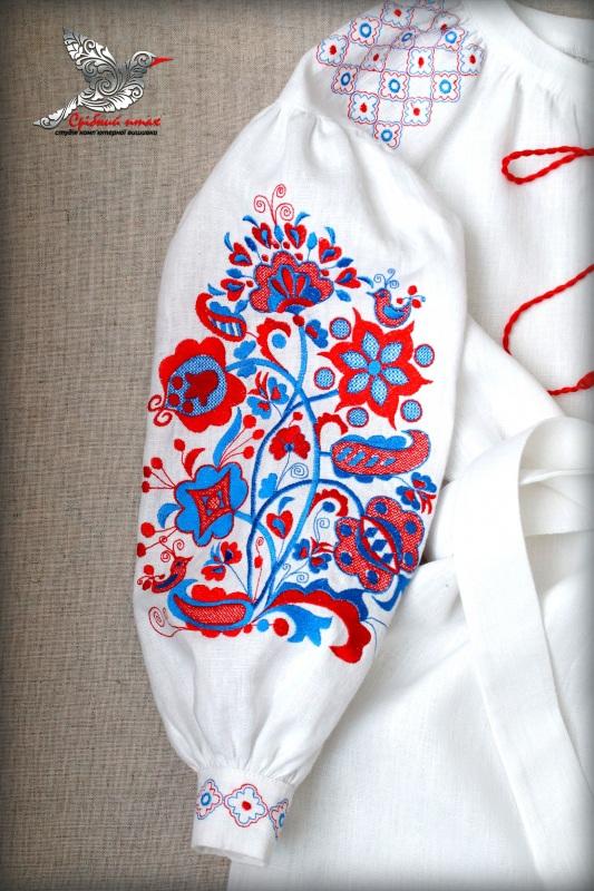 """Лляна сукня-туніка """"Древо життя"""" Білий Льон, вишивка - шовк Студія вишивки """"Срібний птах"""" - фото 4"""