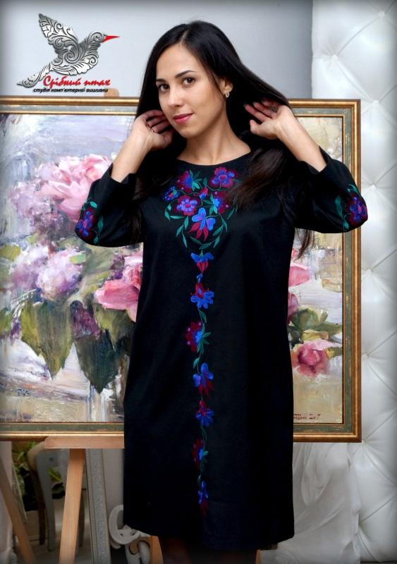 """Платье """"Ночные цветы"""" Синий ткань - лён с хлопком чер Студия вышивки """"Срібний птах"""" - фото 2"""