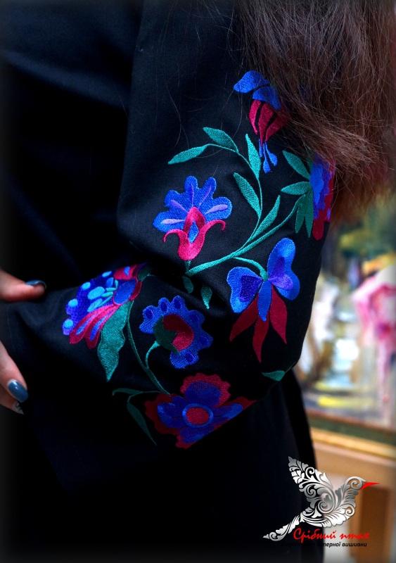 """Платье """"Ночные цветы"""" Синий ткань - лён с хлопком чер Студия вышивки """"Срібний птах"""" - фото 3"""
