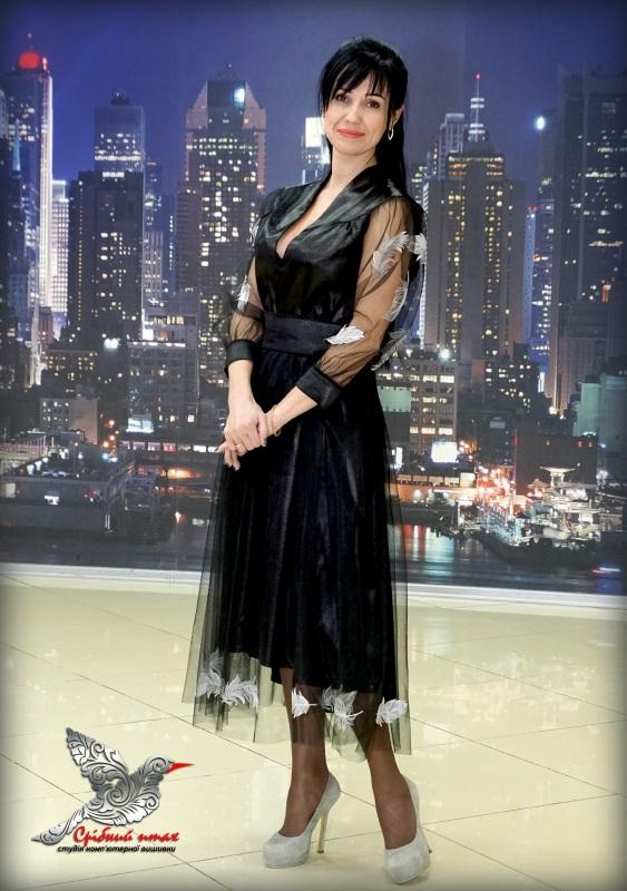 """Платье """"Перья ангела"""" Черный ткань - атлас, евросетка; Студия вышивки """"Срібний птах"""" - фото 7"""
