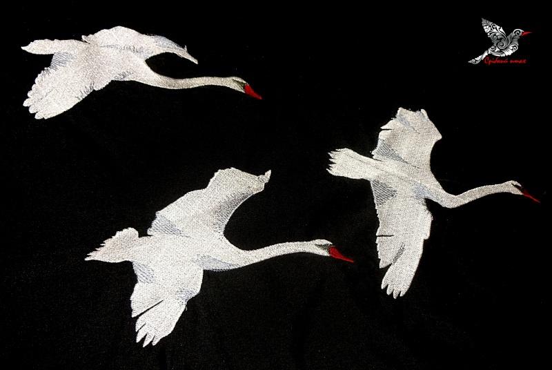 """Платье """"Белые лебеди"""" Черный ткань - лён с хлопком, вы Студия вышивки """"Срібний птах"""" - фото 7"""