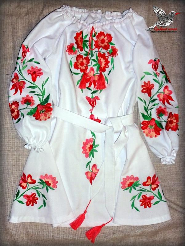 """Платье """"Цветочек"""" Белый белая ткань лён с хлопком Студия вышивки """"Срібний птах"""" - фото 1"""