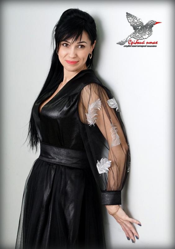 """Платье """"Перья ангела"""" Черный ткань - атлас, евросетка; Студия вышивки """"Срібний птах"""" - фото 6"""