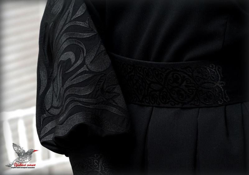 """Платье """"Черные тюльпаны"""" Черный костюмная ткань, шелковая Студия вышивки """"Срібний птах"""" - фото 5"""
