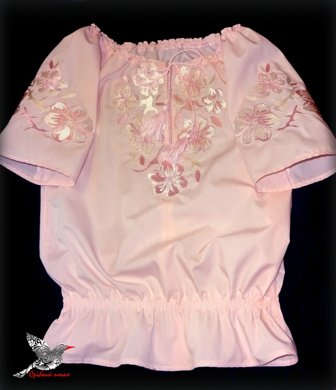 """Блуза с вышивкой """"Весняна"""" Розовый сорочечная ткань розового Студия вышивки """"Срібний птах"""" - фото 1"""