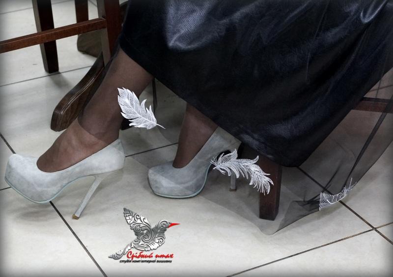 """Платье """"Перья ангела"""" Черный ткань - атлас, евросетка; Студия вышивки """"Срібний птах"""" - фото 4"""