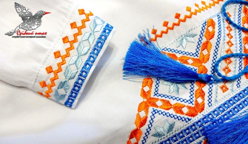 """Вышиванка для мальчика Белый сорочечная ткань, вышивка Студия вышивки """"Срібний птах"""" - фото 2"""