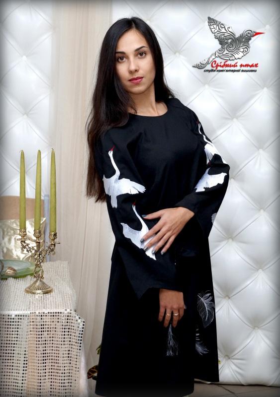 """Платье """"Белые лебеди"""" Черный ткань - лён с хлопком, вы Студия вышивки """"Срібний птах"""" - фото 1"""