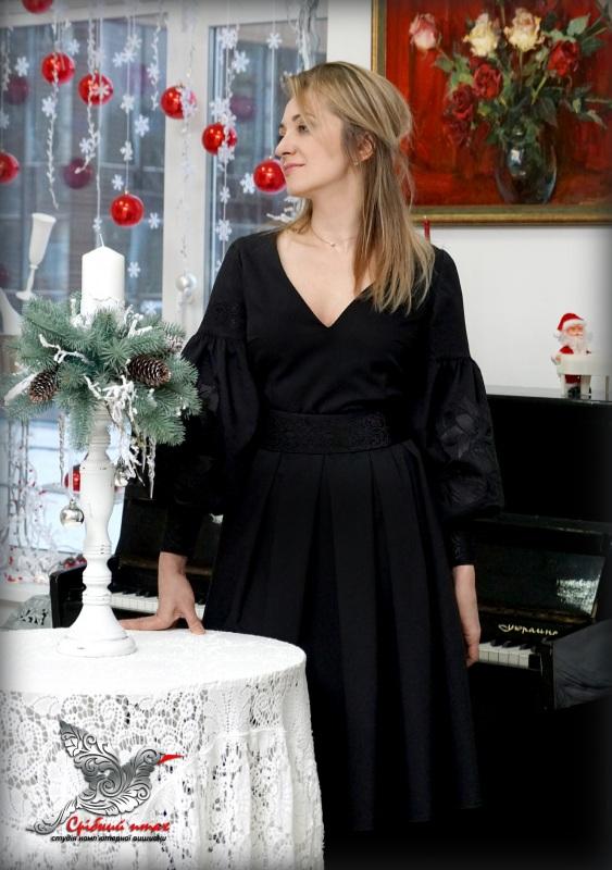 """Платье """"Черные тюльпаны"""" Черный костюмная ткань, шелковая Студия вышивки """"Срібний птах"""" - фото 2"""