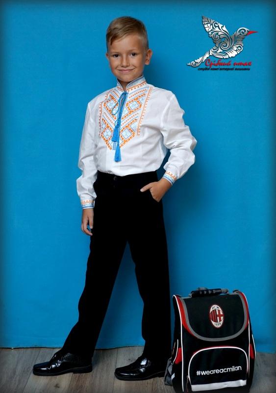"""Вышиванка для мальчика Белый сорочечная ткань, вышивка Студия вышивки """"Срібний птах"""" - фото 4"""