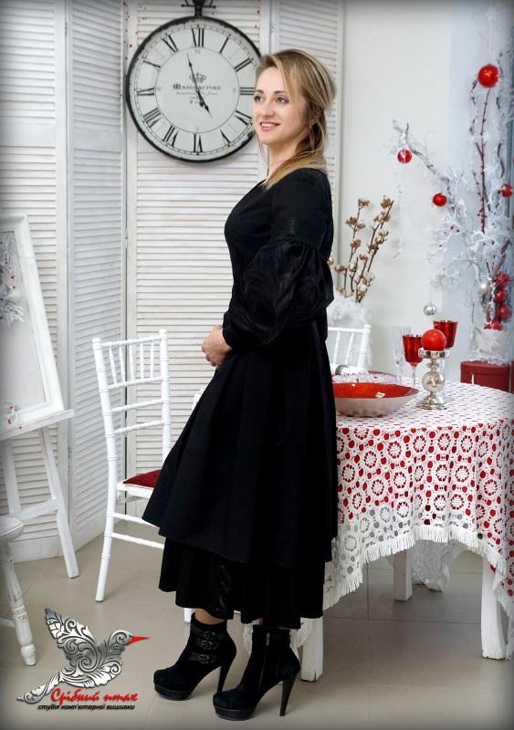 """Платье """"Черные тюльпаны"""" Черный костюмная ткань, шелковая Студия вышивки """"Срібний птах"""" - фото 3"""