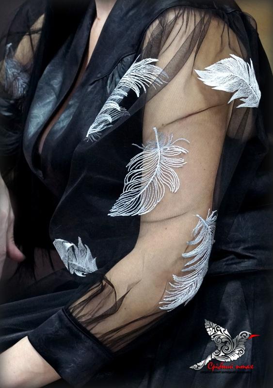 """Платье """"Перья ангела"""" Черный ткань - атлас, евросетка; Студия вышивки """"Срібний птах"""" - фото 5"""