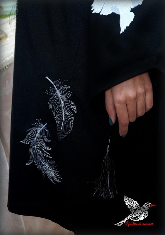 """Платье """"Белые лебеди"""" Черный ткань - лён с хлопком, вы Студия вышивки """"Срібний птах"""" - фото 4"""