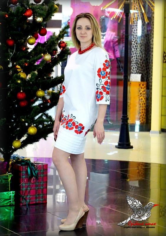 """Платье """"Алые маки"""" Белый ткань белого цвета - хлоп Студия вышивки """"Срібний птах"""" - фото 2"""