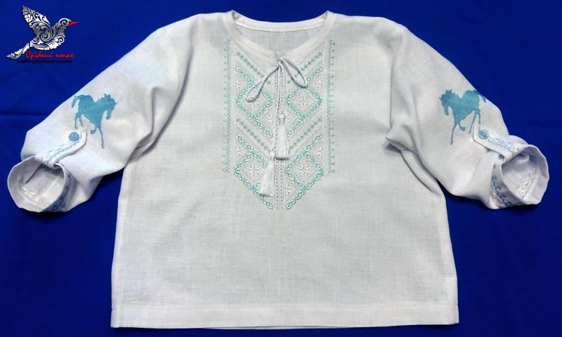 """Мальчиковая вышиванка и полотенце для крестин Белый хлопок, вышивка шелк и се Студия вышивки """"Срібний птах"""" - фото 6"""