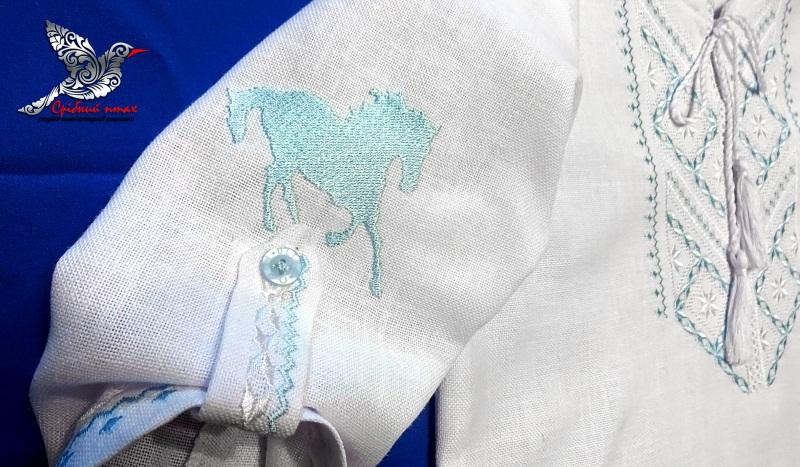 """Мальчиковая вышиванка и полотенце для крестин Белый хлопок, вышивка шелк и се Студия вышивки """"Срібний птах"""" - фото 3"""