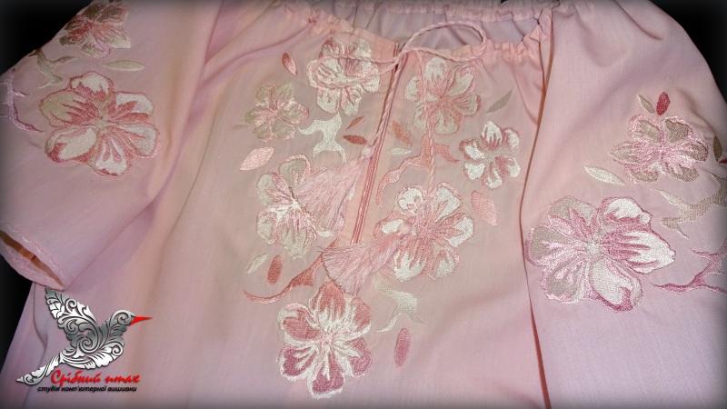 """Блуза с вышивкой """"Весняна"""" Розовый сорочечная ткань розового Студия вышивки """"Срібний птах"""" - фото 2"""