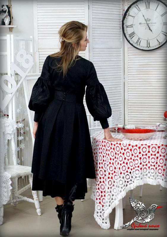 """Платье """"Черные тюльпаны"""" Черный костюмная ткань, шелковая Студия вышивки """"Срібний птах"""" - фото 7"""