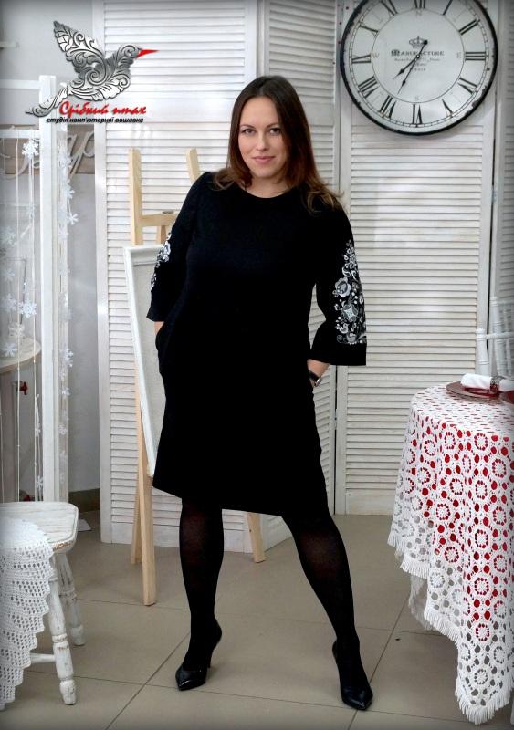 """Платье """"Древо жизни"""" Черный ткань - лён с хлопком, вы Студия вышивки """"Срібний птах"""" - фото 1"""