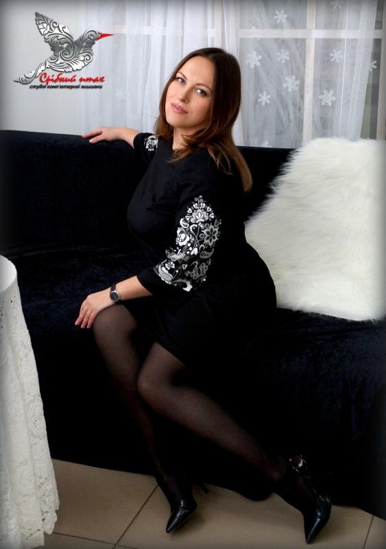 """Платье """"Древо жизни"""" Черный ткань - лён с хлопком, вы Студия вышивки """"Срібний птах"""" - фото 2"""
