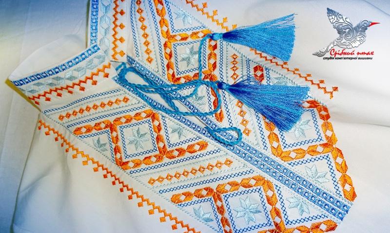 """Вышиванка для мальчика Белый сорочечная ткань, вышивка Студия вышивки """"Срібний птах"""" - фото 5"""