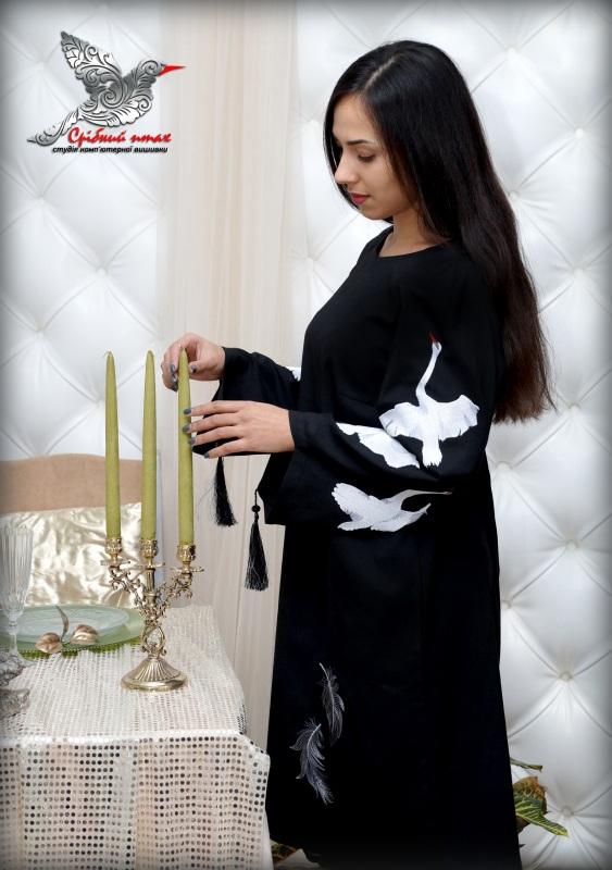 """Платье """"Белые лебеди"""" Черный ткань - лён с хлопком, вы Студия вышивки """"Срібний птах"""" - фото 6"""