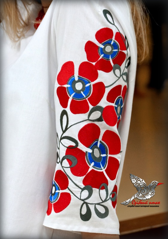"""Платье """"Алые маки"""" Белый ткань белого цвета - хлоп Студия вышивки """"Срібний птах"""" - фото 5"""