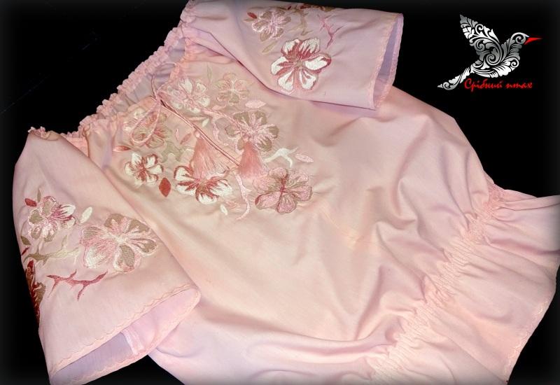 """Блуза с вышивкой """"Весняна"""" Розовый сорочечная ткань розового Студия вышивки """"Срібний птах"""" - фото 3"""