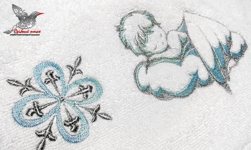 """Мальчиковая вышиванка и полотенце для крестин Белый хлопок, вышивка шелк и се Студия вышивки """"Срібний птах"""" - фото 5"""