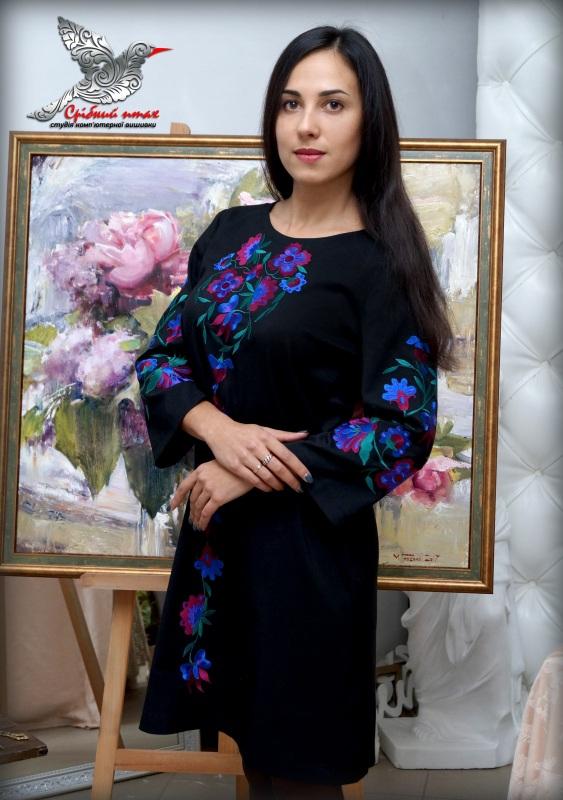"""Платье """"Ночные цветы"""" Синий ткань - лён с хлопком чер Студия вышивки """"Срібний птах"""" - фото 1"""