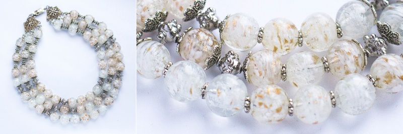 Снежная королева Белый Стеклянные бусины, фурнит Наугольник Данута - фото 2