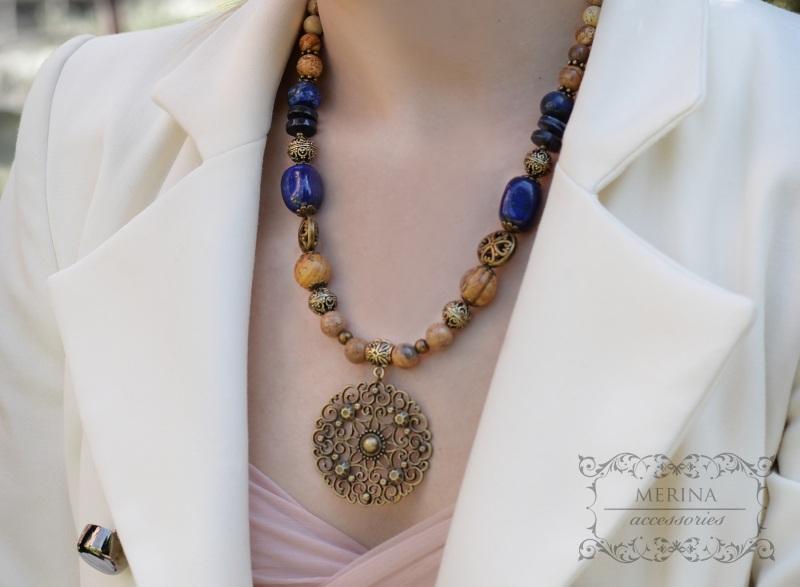 Ожерелье Вдохновение Разноцветный лазурит, яшма Негрич Инна - фото 3