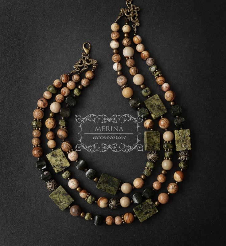 Ожерелье из яшмы и змеевика Разноцветный Яшма 8-10мм, змеевик 15 * Негрич Инна - фото 3