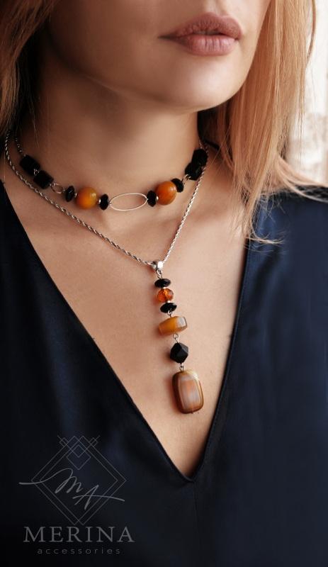 Комплект 3 в 1 Кулон, чокер-браслет медовий 2 Оранжевый агат, оникс Негрич Инна - фото 1