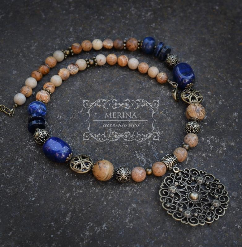 Ожерелье Вдохновение Разноцветный лазурит, яшма Негрич Инна - фото 1