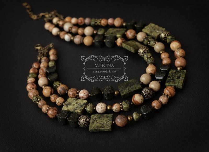 Ожерелье из яшмы и змеевика Разноцветный Яшма 8-10мм, змеевик 15 * Негрич Инна - фото 2